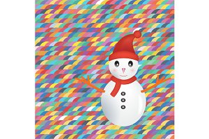Snowman on colorful background