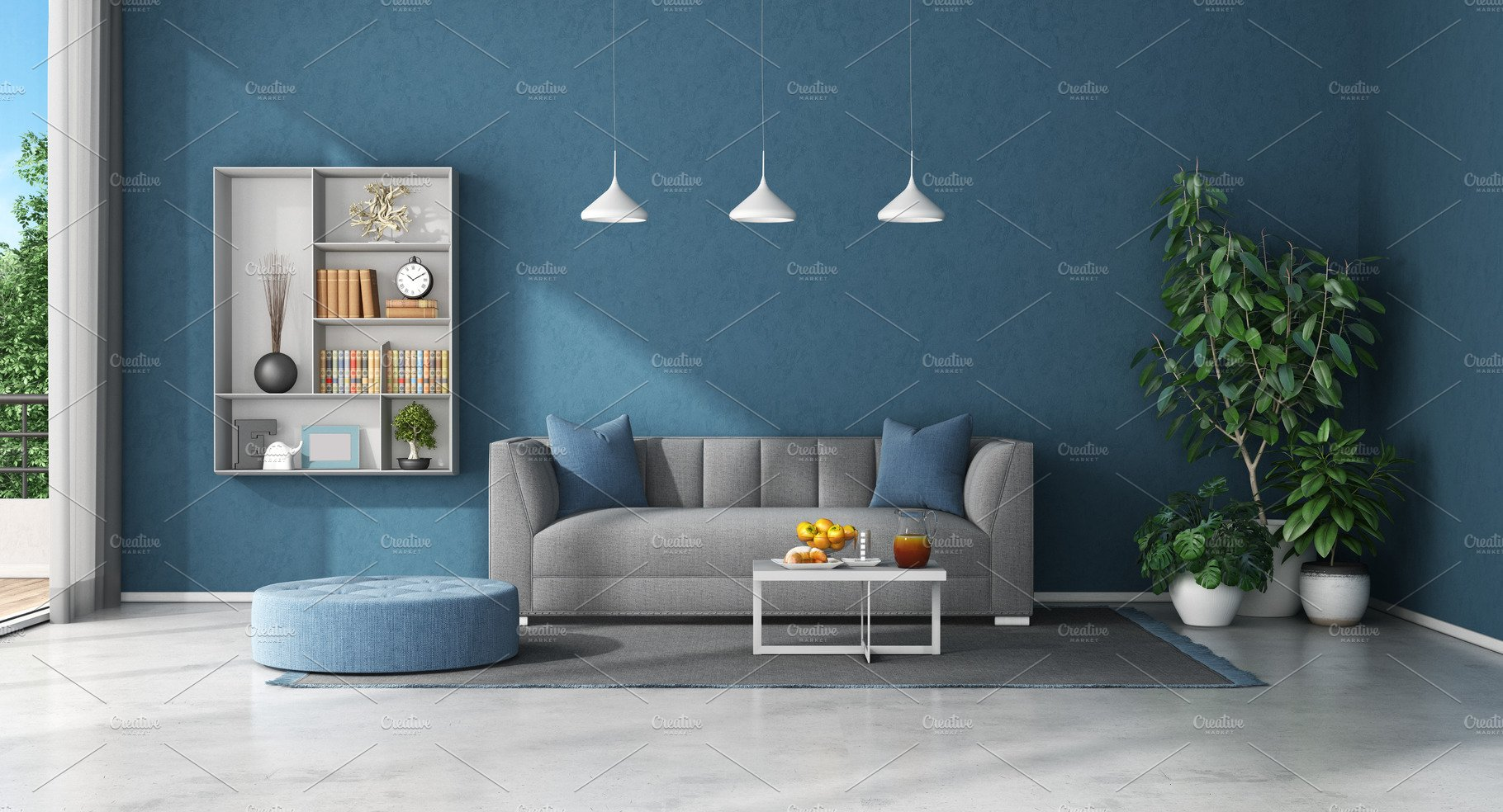 Blue Living Room With Sofa And Bookc High Quality Architecture Stock Photos Creative Market