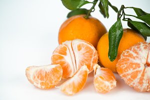 fresh mandarin with leaf isolated  o