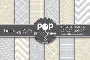 Linear beige & gray 12 digital paper