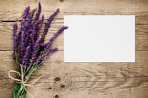 Bunch of salvia and greeting card
