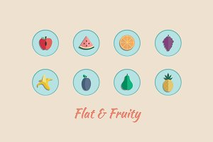Flat Vector Fruit Icons