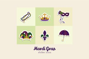 Mardi Gras Flat Sticker Icons