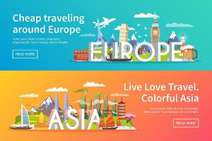 Travel banners Europe. Asia. America