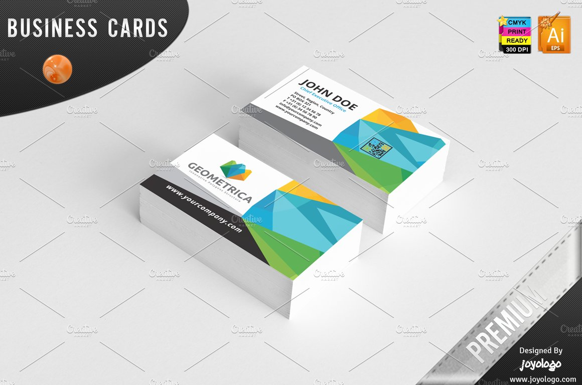 3D Geometric Polygonal Business Card ~ Business Card Templates ...