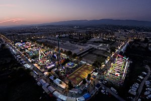 Funfair from the air at night