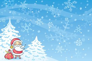 cartoon santa with a blue background