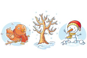 Set of cartoon winter elements
