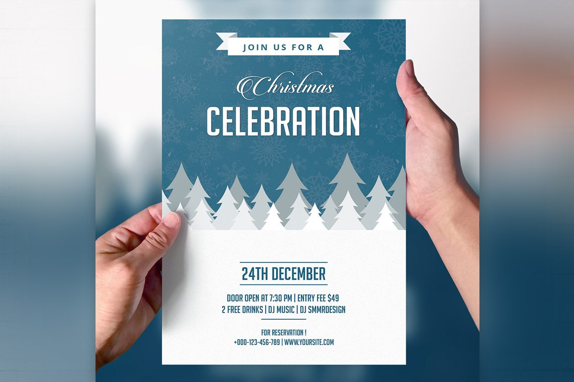 christmas party invitation flyer flyer templates on creative market