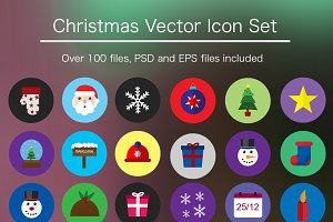 Flat Xmas Icon Pack - PSD & Vector