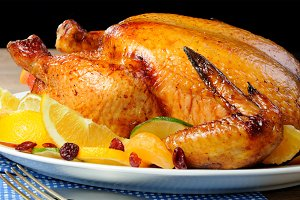 Baked chicken with oranges
