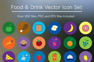 Flat Food & Drink Icon Pack - Vector