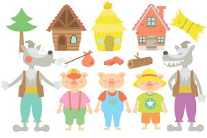 The Three Little Pigs Clipart Set