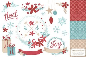 Red & Blue Christmas Clipart Wreaths