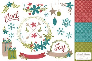 Retro Christmas Vectors & Patterns