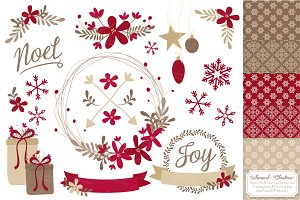 Ruby Red Christmas Clipart & Papers