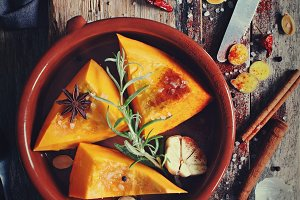 Sliced pumpkin with spices