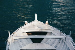 View from the bow of a wooden boat.