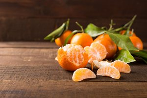 clementines on wooden table