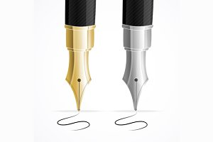 Close Up of a Fountain Pens. Vector