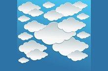 Cartoon White Clouds on Blue Sky.