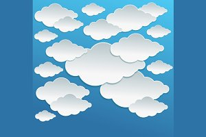 Cartoon White Clouds on Blue Sky.
