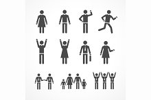 Human Silhouettes Set. Vector