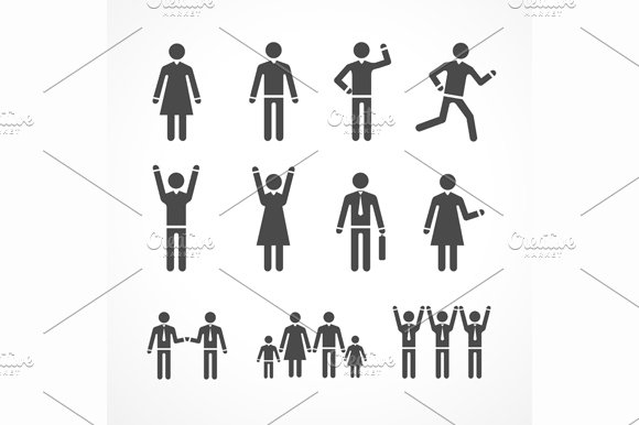 Human Silhouettes Set. Vector - Icons