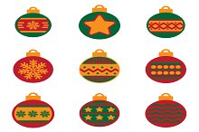 Set of flat icons  Christmas balls