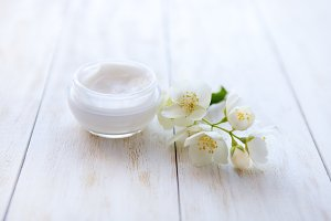 beauty cream with  jasmine blossom