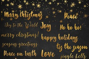 Christmas Gold Foil Overlay Word Art