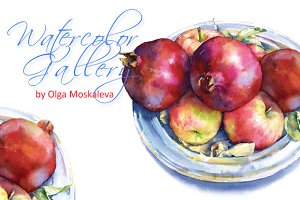 Watercolor grenades and apples