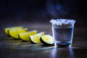 Tequila in Shot Glasses with  Lime a