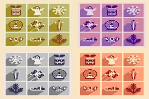 Set of icons New Year and Christmas
