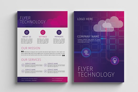Technology Flyer Template Flyer Templates Creative Market - Technology brochure template