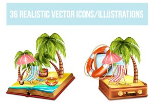 36 Travel Vector Icons/Illustrations