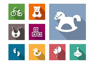 Kid stuff flat icons set