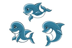 Cartoon little blue dolphins