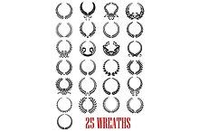 Vintage laurel wreath icons set