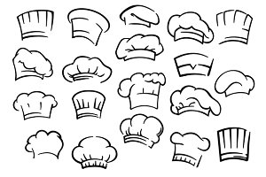 Chef toques and hats set