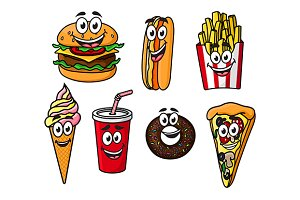 Happy colorful takeaway cartoon food