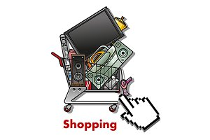 Shopping cart with household applian