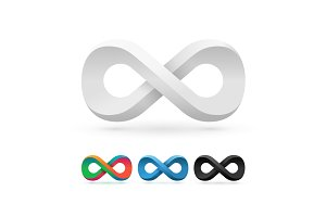 Set of infinity symbol icons.