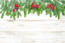 Christmas tree branches red berries