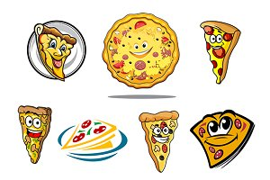 Colorful cartoon pizza characters an