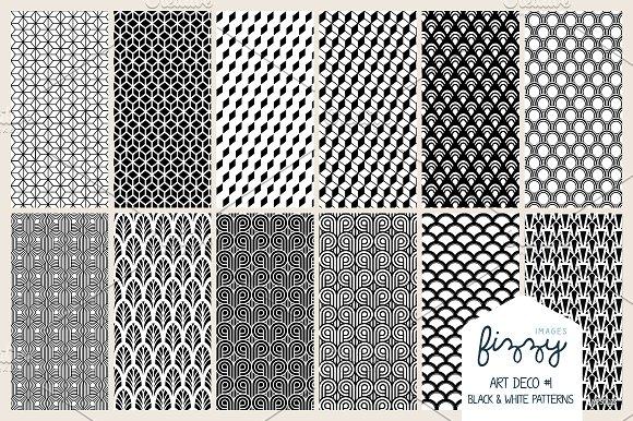 12 x EPS JPG Art Deco Black Patterns ~ Patterns ~ Creative Market