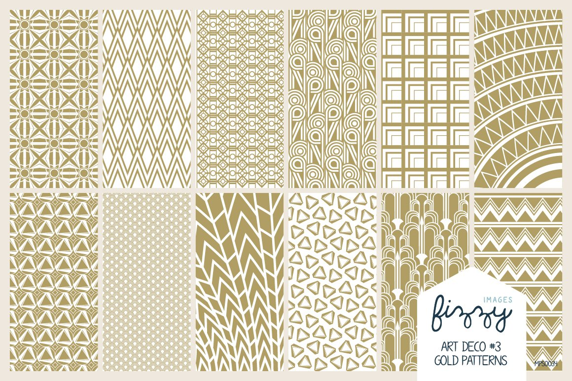 12 x EPS JPG Art Deco Gold Patterns ~ Graphic Patterns ~ Creative Market