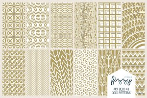 12 x EPS JPG Art Deco Gold Patterns