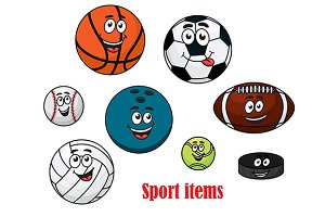 Cartoon sport ball characters