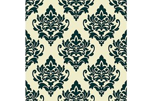 Floral green damask seamless pattern